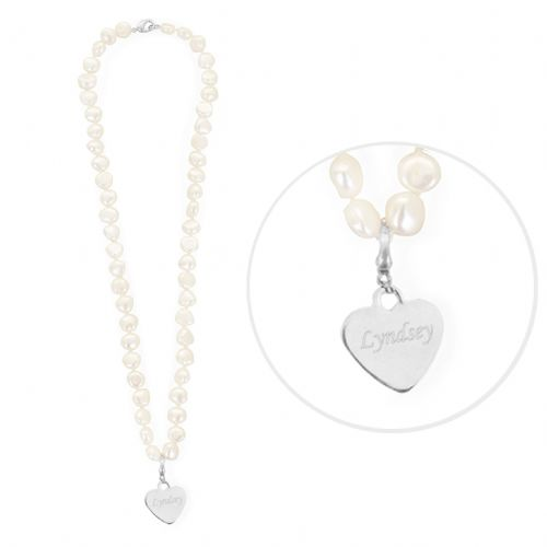 Personalised White Freshwater Pearl Name Necklace
